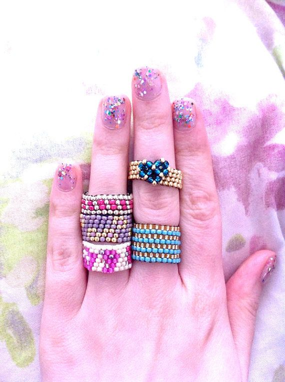 Cute Spring Boho Seed Bead Rings - Beaded Rings - Bohemian Rings - Gypsy - Colourful - Fun - Stacking Rings - Bead Jewelry,
