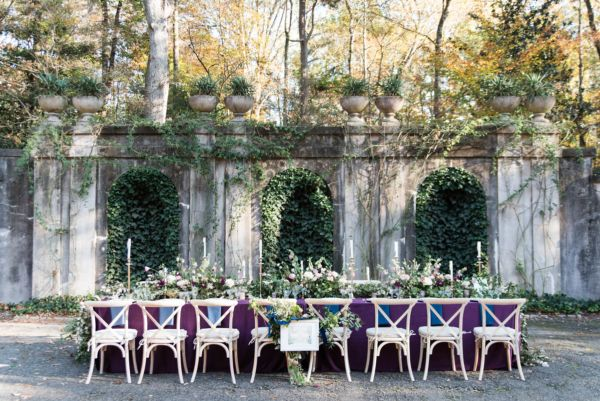 Green and Purple Outdoor Wedding Table | photography by http://www.heatherkcook.com