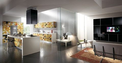 A graphic motif of extreme originality! | A furnishing style that blurs the boundary between living area and kitchen