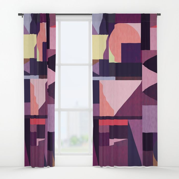 Kaku Purples Window Curtains by Fimbis    Purple, pattern, violet, geometric, abstract art, fashion, home decor, interior design,