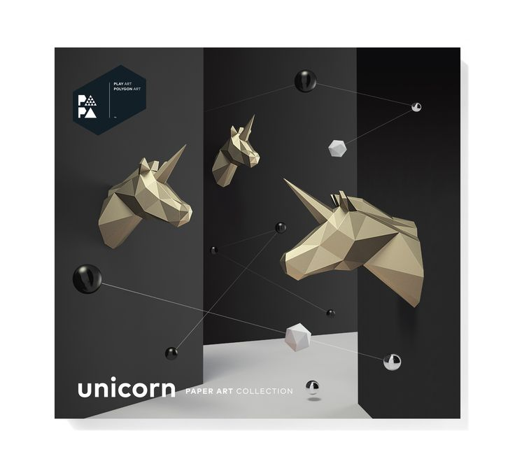 PAPA Unicorn Gold Package Front | Play Art. Polygon Art. Do Art Yourself.