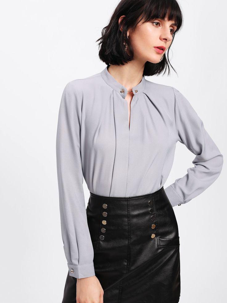 Shop Metal Button Front Blouse online. SheIn offers Metal Button Front Blouse & more to fit your fashionable needs.