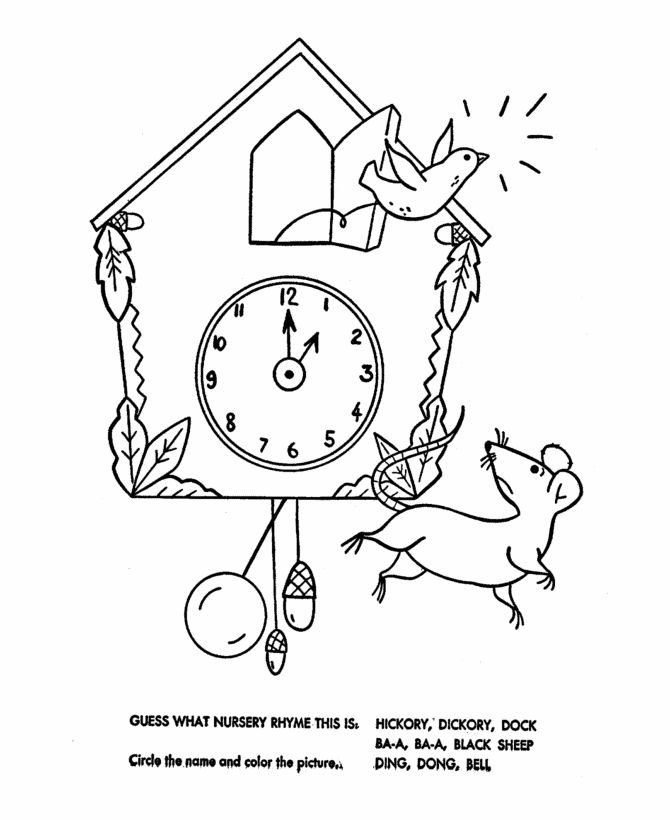 find this pin and more on blt for young learners special hickory dickory dock nursery rhymes quiz coloring page sheets