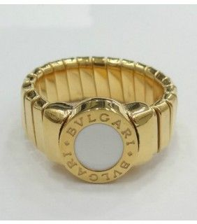 Bvlgari Tubogas Ring in 18kt Yellow Gold with Mother of Pearl