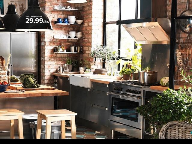 IKEA Kitchen - love the wood, stainless, black & brick.