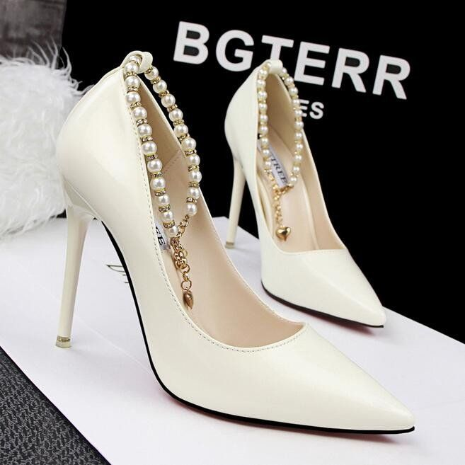 women luxury pumps red bottom high heels fashion sexy zapatos mujer  chaussure femme pearl wedding shoes
