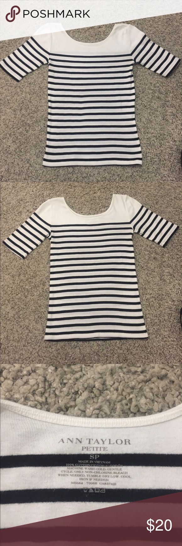 Ann Taylor striped top One of my closet staples and perfect for the fall. Pairs well with jeans, nude flats and a green military jacket. Ann Taylor Tops Tees - Short Sleeve