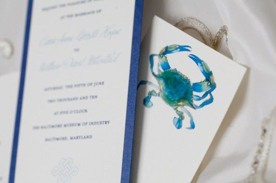 Don't forget to incorporate the blue crab into your blue Baltimore wedding!