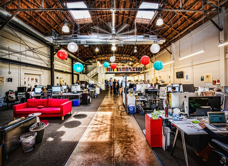 Pinterest Offices  I would want a office like this because then we are by each other and we are not all closed in to a little office away form each other.