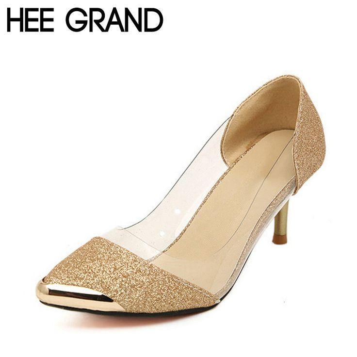 Hee grand mujeres bombea los zapatos de alta calidad de la manera de cuero de la pu delgada las Bombas del alto Talón Zapatos de Mujer Tamaño de la Astilla de Oro Más 35-40 XWZ119