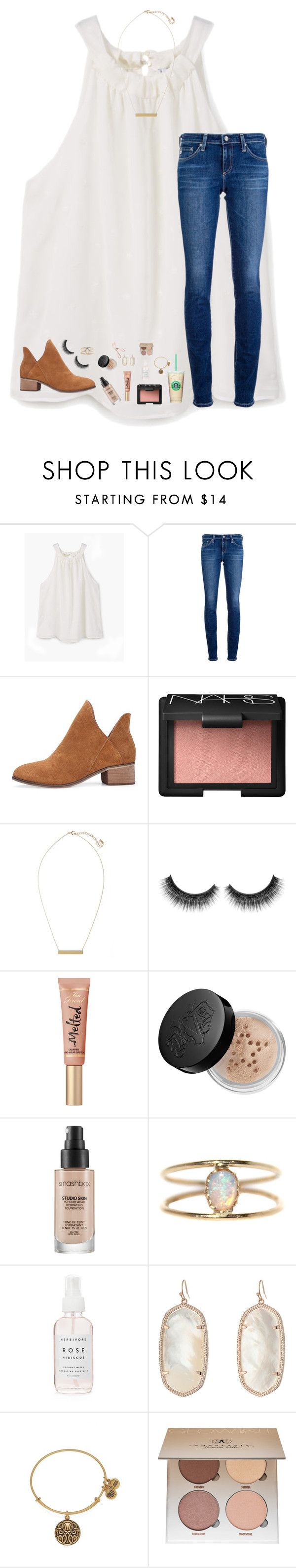 """i need song recommendations"" by lindsaygreys ❤ liked on Polyvore featuring MANGO, AG Adriano Goldschmied, NARS Cosmetics, BP., Kat Von D, Smashbox, LUMO, Herbivore, Kendra Scott and Alex and Ani"