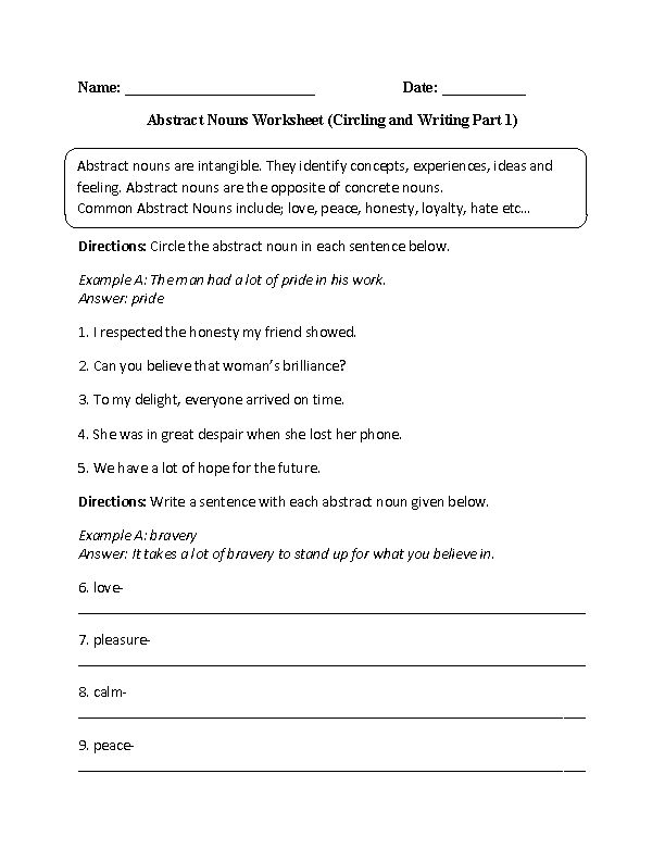 circling and writing abstract nouns worksheet part 1 intermediate board. Black Bedroom Furniture Sets. Home Design Ideas