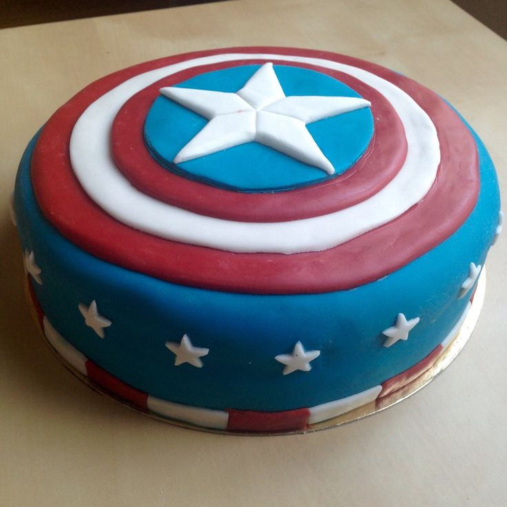 Captain America birthday cake  #marvel #captainAmerica #cake #birthdaycake…