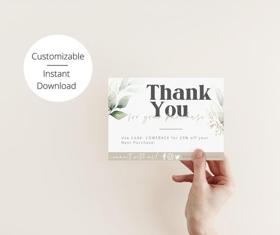 Diy Business Thank You Cards Greenery And Gold Thank You For Etsy Business Thank You Cards Event Planning Business Marketing Business Marketing Gifts