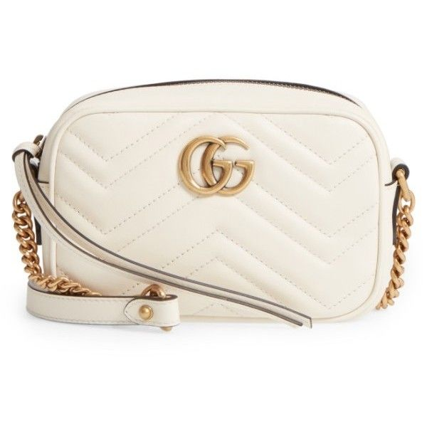 Women's Gucci Gg Marmont 2.0 Matelasse Leather Camera Bag ($980) via Polyvore featuring bags, handbags, mystic white, chevron purses, white purse, white leather handbags, gucci handbags and camera bag