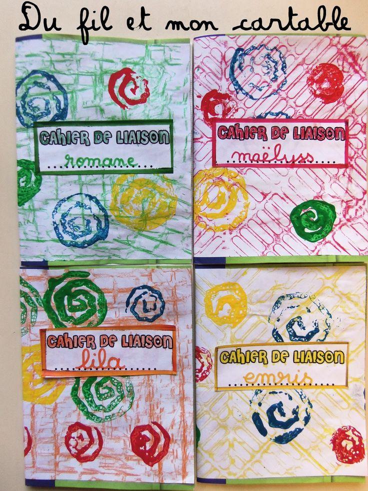 Petite activité autour de la pochette d'un cahier sur un format A4   Empreinte au pastel   +   Empreinte spirale carton              R...