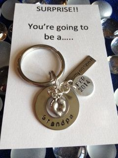 Pregnancy Announcement Key Chain by StampsofLove4 on Etsy, $19.99