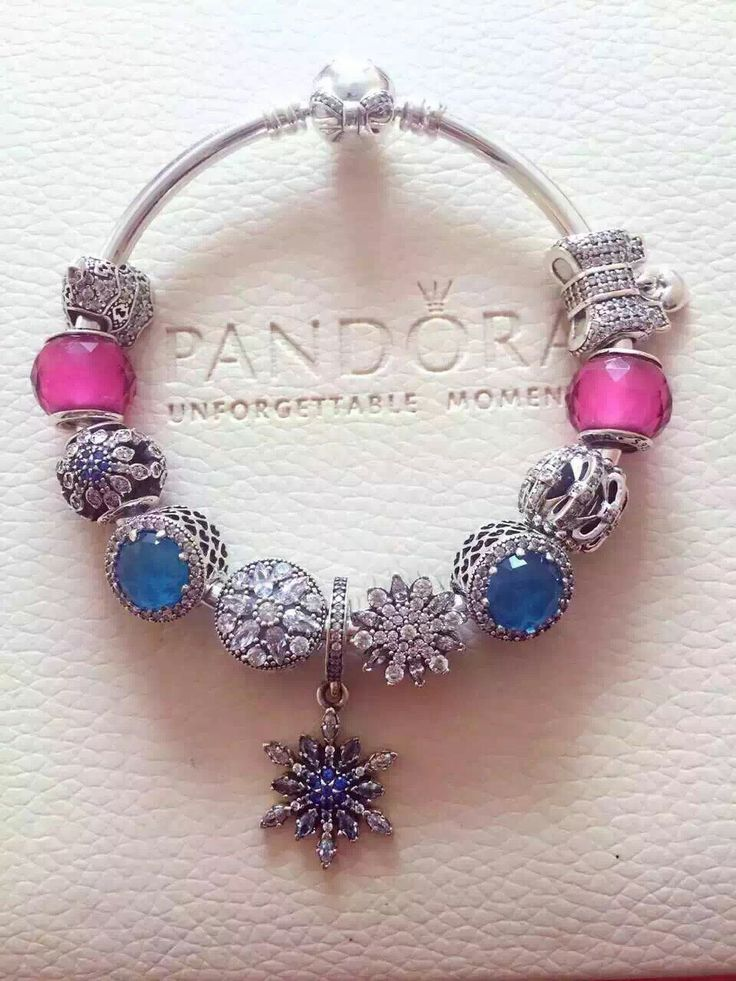 279 pandora bangle charm bracelet blue pink hot sale