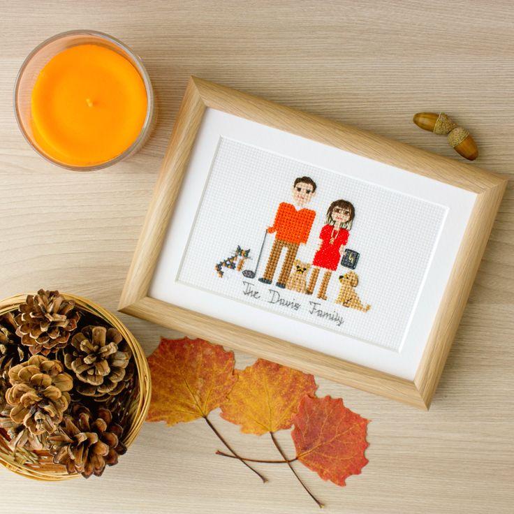 Hechas a mano personalizada encantadora y divertida cruzados cosidos retratos familiares hacen los regalos perfectos para tus amigos, familiares y seres queridos! Pensemos en esas vacaciones y ocasiones, como Navidad, día de la madre, día del padre, boda, aniversario (especialmente A