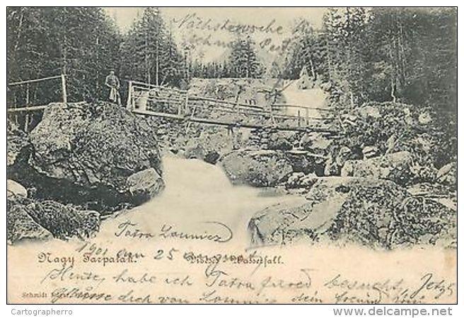 Nagy Tarpatak Tatra mountains Hungary Slovakia 1899 postcard waterfall bridge