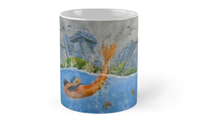 Coffee Mug, mermaid, blue, home,kitchen,accessories,cool,beautiful,unique,artistic,unusual,for sale,design,ideas, redbubble