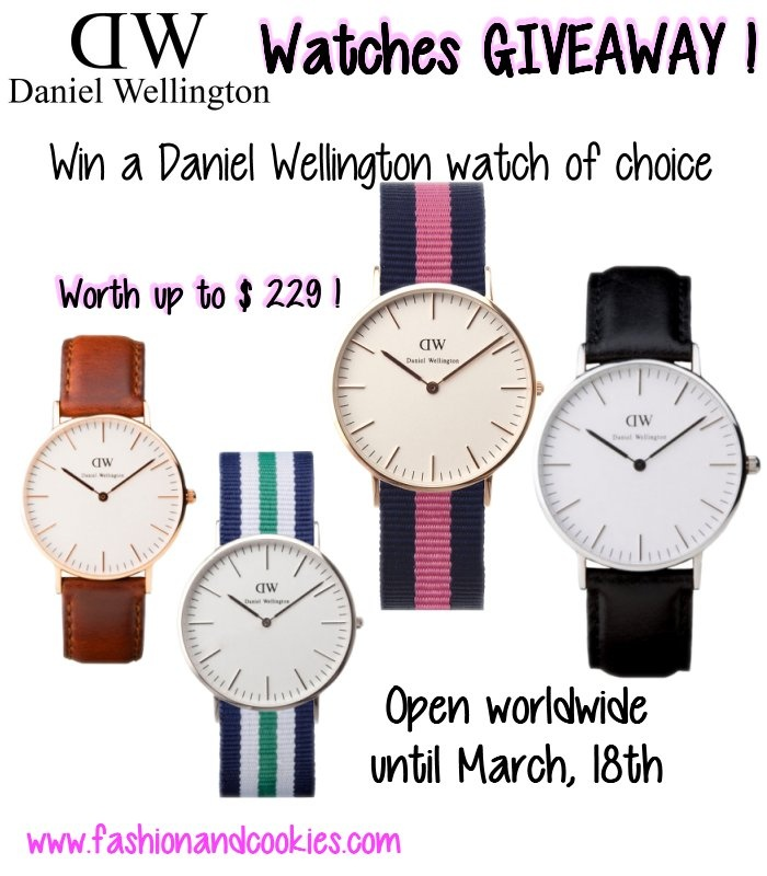 Daniel Wellington Watches giveaway on Fashion and Cookies  up to $229 worth