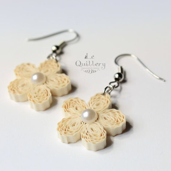 Quilling Jewelry, Quilled Cream Flower Earrings by LeQuillery on Etsy, $16.00