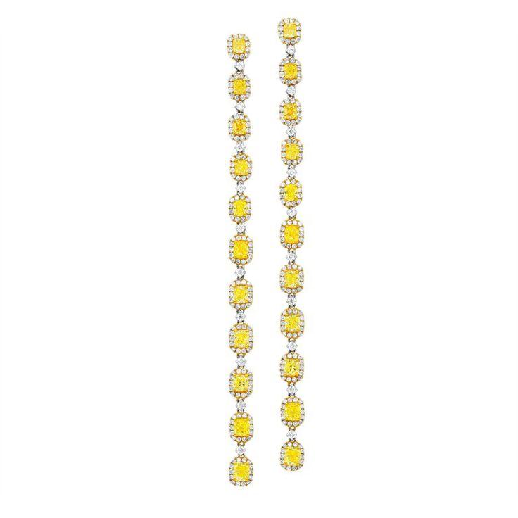 Long Drop Canary Yellow Diamond Earrings | From a unique collection of vintage drop earrings at https://www.1stdibs.com/jewelry/earrings/drop-earrings/
