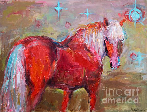 Red Horse painting by me (Svetlana Novikova).  Prints are available on gallery wrapped canvas, metal, acrylic, posters, framed and unframed, they would make great gift for any horse lover.