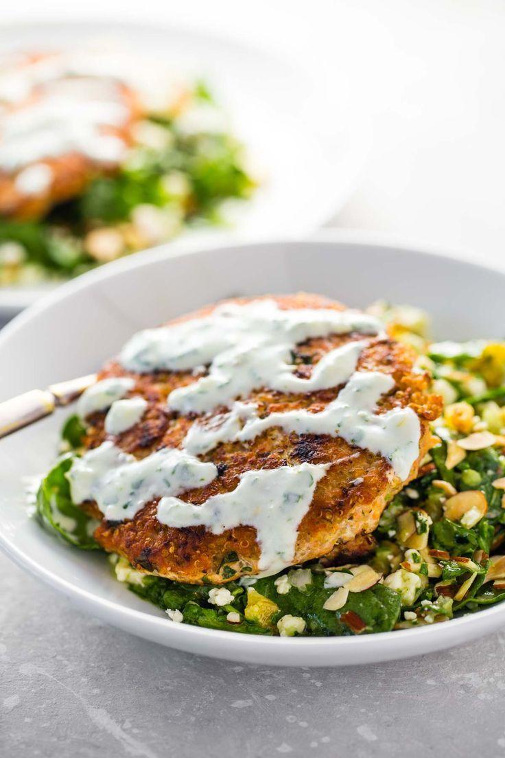 Lemon Herb Salmon Burgers with a Dried Pear and Gorgonzola Salad #salmon #burger #recipe