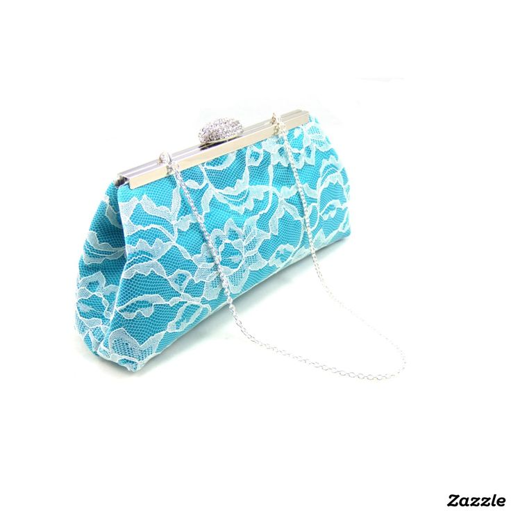 Teal, Ivory and Platinum Grey Bridesmaid Clutch