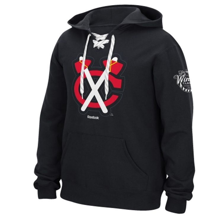 Men's Chicago Blackhawks Reebok Black 2015 NHL Winter Classic Emblem Hockey Jersey Hoodie