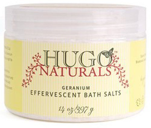 Hugo Naturals Effervescent Bath Salts, Geranium 14oz by Hugo Naturals. $9.30. Blend of Dead Sea salt and Himalayan pink salt. Delicate geranium scent. Effervescent fizz and bubbles. Rich in minerals. Organic and completely natural. Our Effervescent Bath Salts fizz and bubble and smell so delightful that you might be satisfied with just that. But we wanted more. So we use two very special and unique kinds of salt: Dead Sea salt, renowned for its therapeutic powers, ...