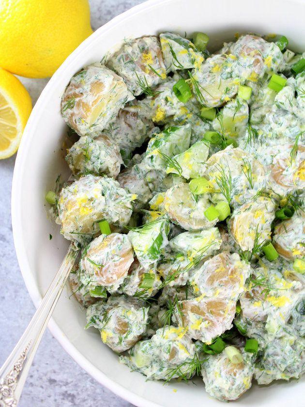Greek Tzatziki Potato Salad - Herbaceous & so good for you!  Baby Dutch yellow potatoes and creamy Greek yogurt sauce with English cucumbers, dill, & garlic.  http://tasteandsee.com via @h_tasteandsee