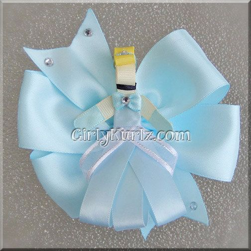 Cinderella Hair Bow Cinderella Ribbon Sculpture Hair by GirlyKurlz