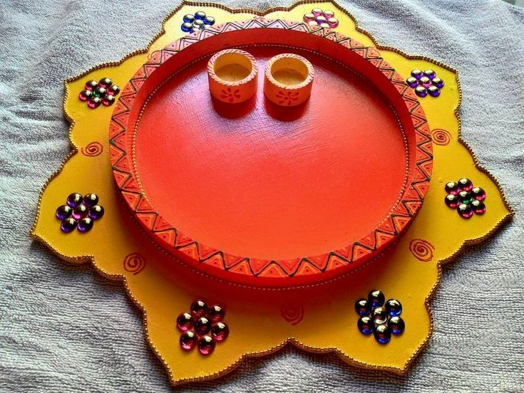 75 best thali decor images on pinterest for Arti thali decoration