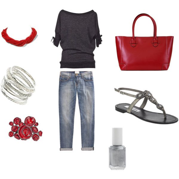 Casual fun, created by jtolsma on Polyvore: Style Closet, Casual Attire, Dreams Closet, Wardrobes Ideas Tops, Extraordinari Style, Ideas Tops Gray, Make Up Style, Sweaters And Jeans, Casual Fun