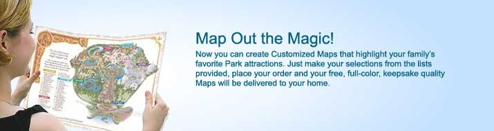 FREE Customized Disney Maps Shipped to Your Door = FREE Souvenir! Here you can create special keepsake Maps of all 4 Parks that highlight your favorite attractions and entertainment.