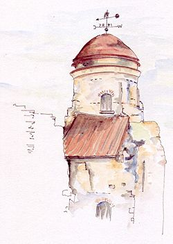 Colchester Castle, UK. Pen, ink & wash by Sue Pownall