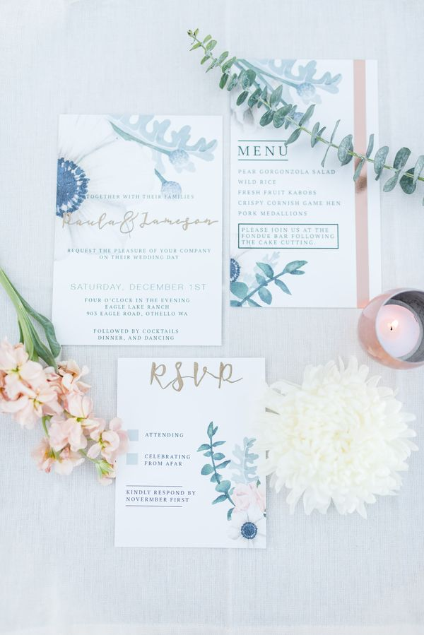 Copper Meets Dusty Blue And Gray In 2018 Ever After Pinterest Wedding Invitations Weddings