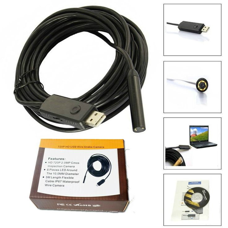 Pipe Inspection Camera HD 720P USB Endoscope Video Sewer Drain Waterproof 16 ft #PipeInspectionCamera #Pipe Inspection Camera #ebay
