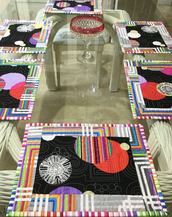 Modern Placemats Quilted Placemats Kitchen Linens Dining