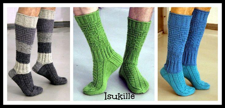 Lähestyvä isänpäivä inspiroi kehittelemään sukan, jonka pintaneuleet pystyy neulomaan oikeilla ja nurjilla silmukoilla ilman muuta kikkai...