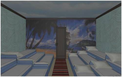 Дизайн спальной комнаты в детском саду. Спальня в детском учреждении в морском стиле