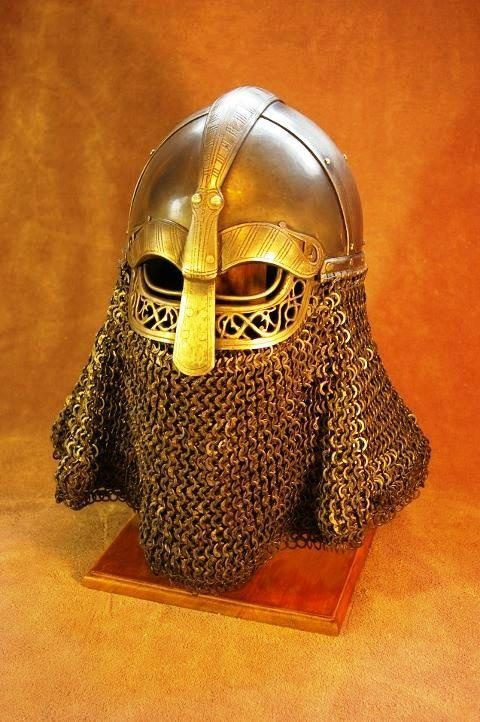 """Interpretation of a pre-migration era Vendel helmet """"Kada's gift"""" - Mail and photography by Matt Sugarbaker helmet Vrin Thomas - used without attributions,  everywhere"""