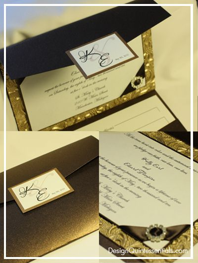 26 best Elegant Embossed Wedding Invitations images – Brown and Gold Wedding Invitations