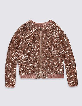 Front Zipped Sequin Jacket (4-14 Years)