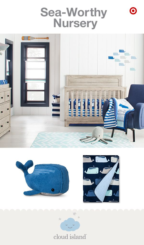 New and only at Target, the By the Sea nursery collection part of Cloud Island features a modern spin on a classic look. This collection has been reimagined into a playfully nautical nursery with trendy coastal details like oversized whales, anchors and bold rugby stripes in a variety of blues, grays, whites and reds. The cozy-soft crib bedding sets, blankets and decor can easily be mixed and matched for a crisp, inspired look both you and your baby will love.