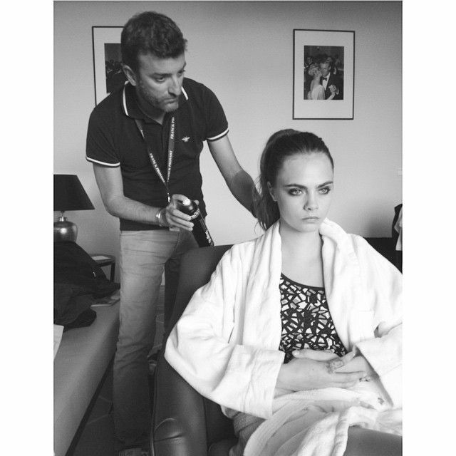 The beautiful Cara Delevigne, very concentrated before the Chanel party, opted for a  high and modern ponytail signed #franckprovost! #franckprovost #franckprovostparis #backstage #cannes #cannes2015 #cannesforever #CannesFilmFestival