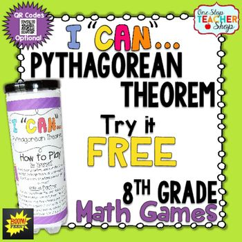 Pythagorean Theorem has never been this much fun! This FREE 8th Grade I Can Math Game focuses on using the Pythagorean Theorem, and provides students with practice in the form of multiple choice questions. This game can be used for independent practice, a guided math activity, whole group review, or for progress monitoring.